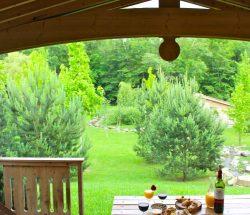 location chalet pays basque : vue de la terrasse sur la nature au camping à Hendaye, Eskualduna
