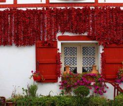 Camping Eskualduna au pays basque près d'Espelette : Piments sur une façade maison basque