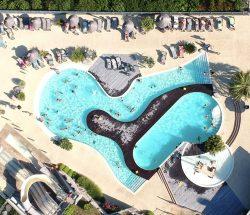 Camping Pays basque avec piscine à Hendaye, Eskualduna : vue aérienne de l'espace aquatique